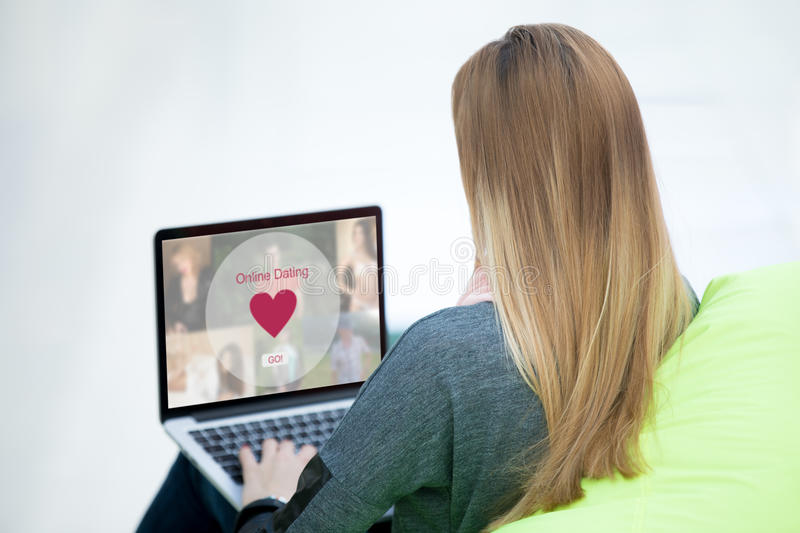 Young woman on dating website royalty free stock image