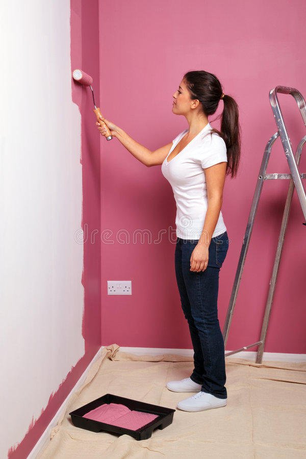 Young woman decorating royalty free stock images