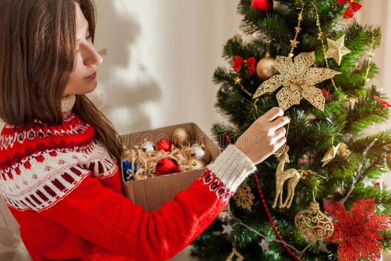 Young woman decorating Christmas tree at home, wearing winter sweater. Preparing to New year royalty free stock images