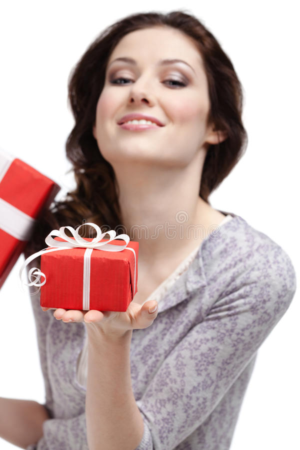 Young woman demonstrates a gift