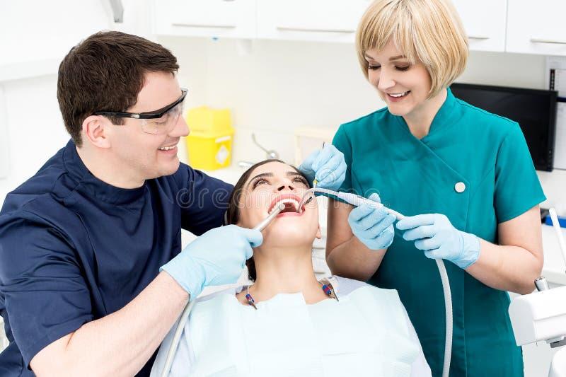 Young woman at dental office royalty free stock photos