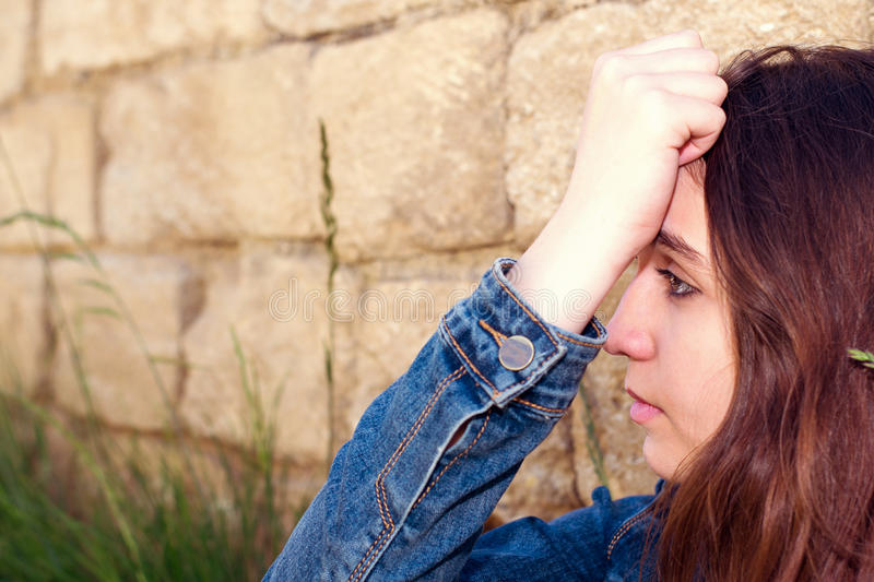 Young woman in despair royalty free stock photography