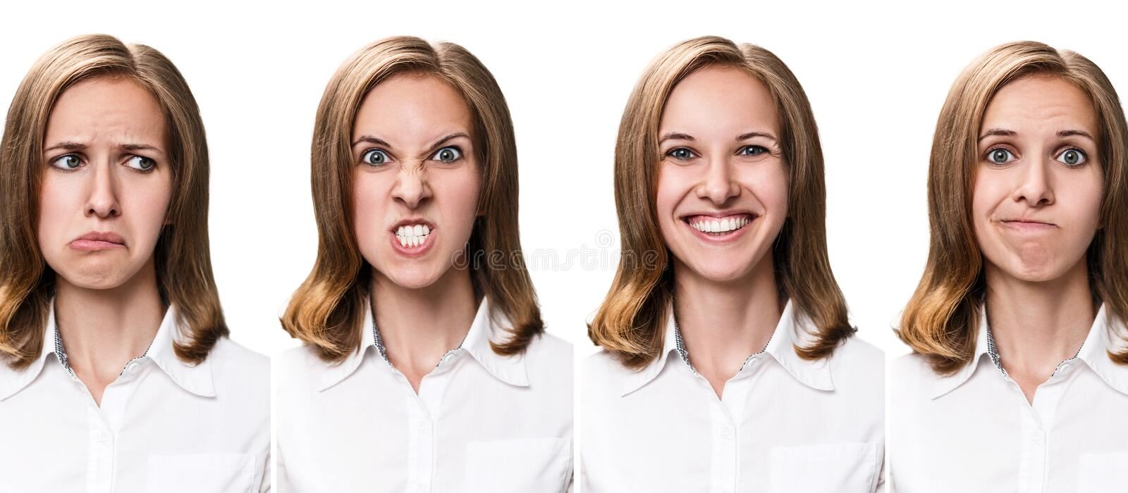 Young woman with different expressions stock images