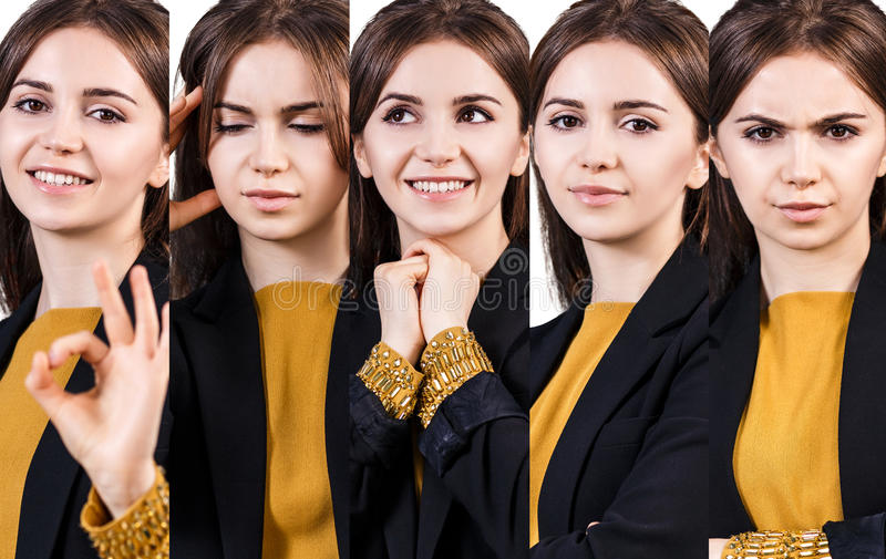 Young woman with different expressions stock photo
