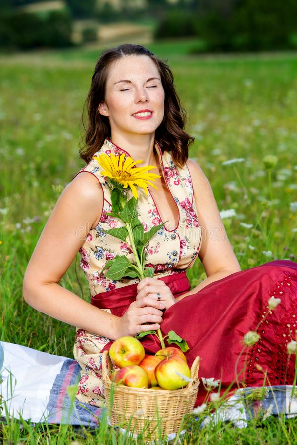 Young woman in dirndl sitting in meadow and holding sunflower. Portrait of young woman in dirndl sitting in meadow and holding sunflower stock photos