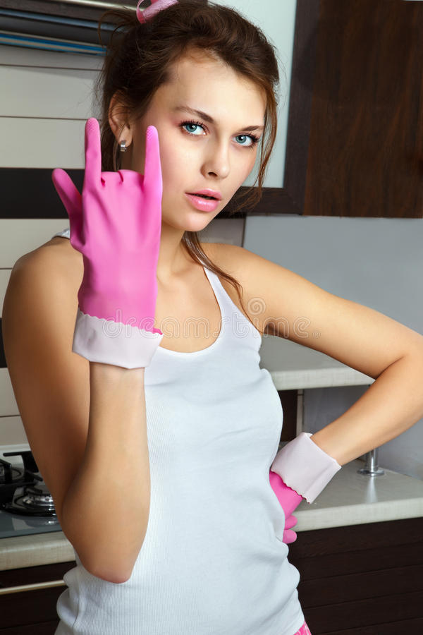 Download Young Woman With Dish Gloves Stock Image - Image: 26636397