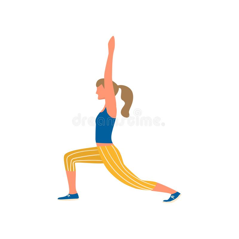 Young woman do morning gymnastic in blue vest and striped pants stock illustration