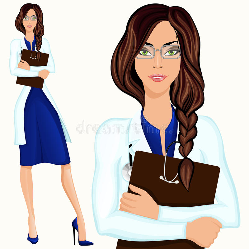Young woman doctor stock illustration