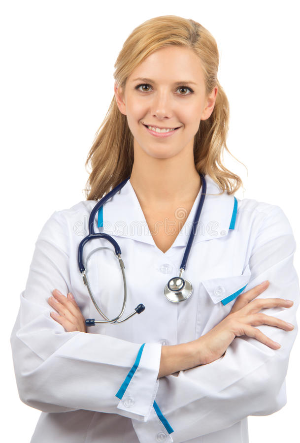 Young woman doctor with stethoscope