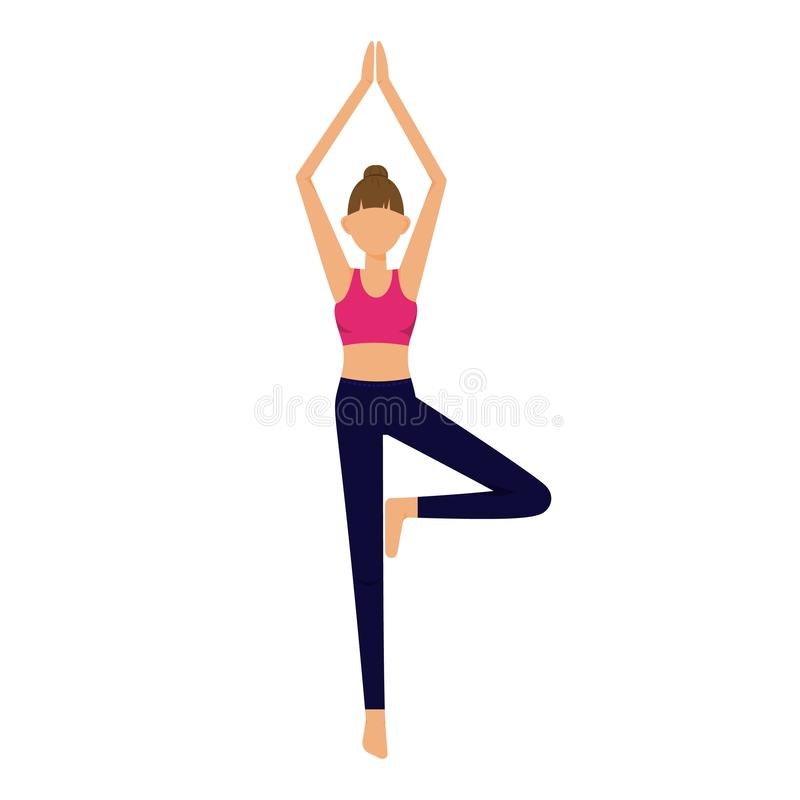 Young woman does yoga exercise, yoga pose. Vector illustration of girl standing in pink sport bra and dark blue leggings vector illustration