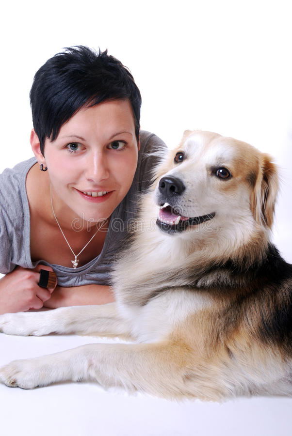 Download Young woman with dog stock image. Image of affectionate - 20310949