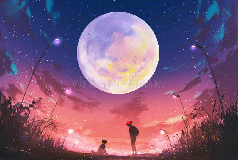 Young woman and dog at beautiful night with huge moon above royalty free illustration