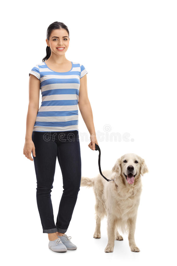 Young woman with a dog royalty free stock photos