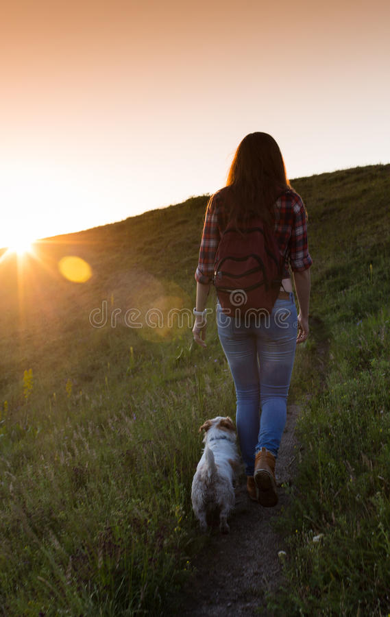 Young woman with dog on a sunny day hiking in high mountains.  stock image