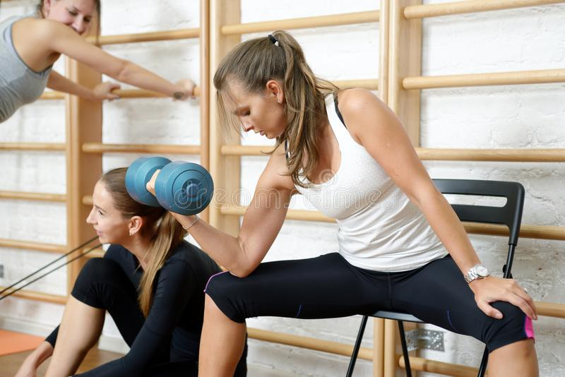 Young woman doing biceps curl exercise with dumbbells in gym. Young women doing biceps curl exercise with dumbbells in gym stock photo