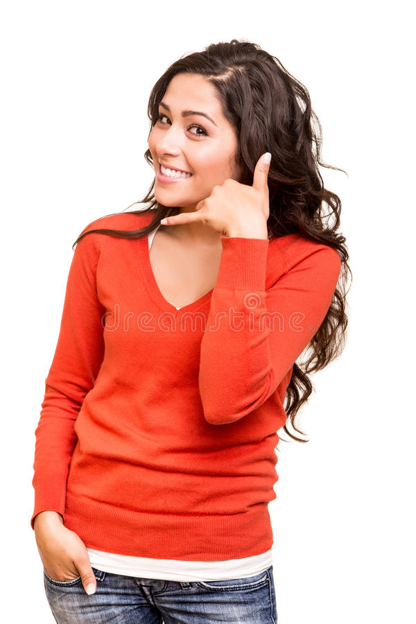 Young woman doing call sign royalty free stock photos