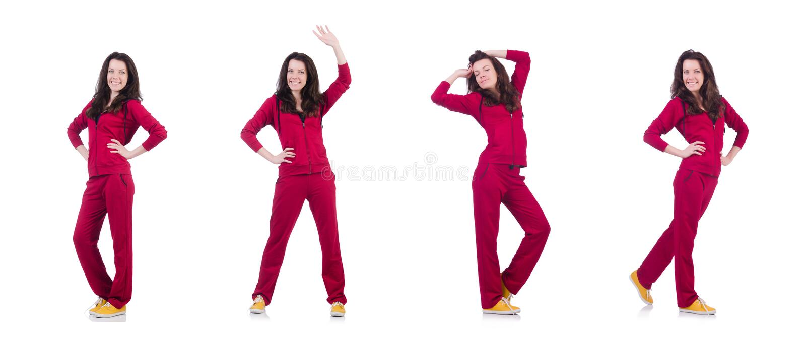 Young woman doing exercises on white stock image