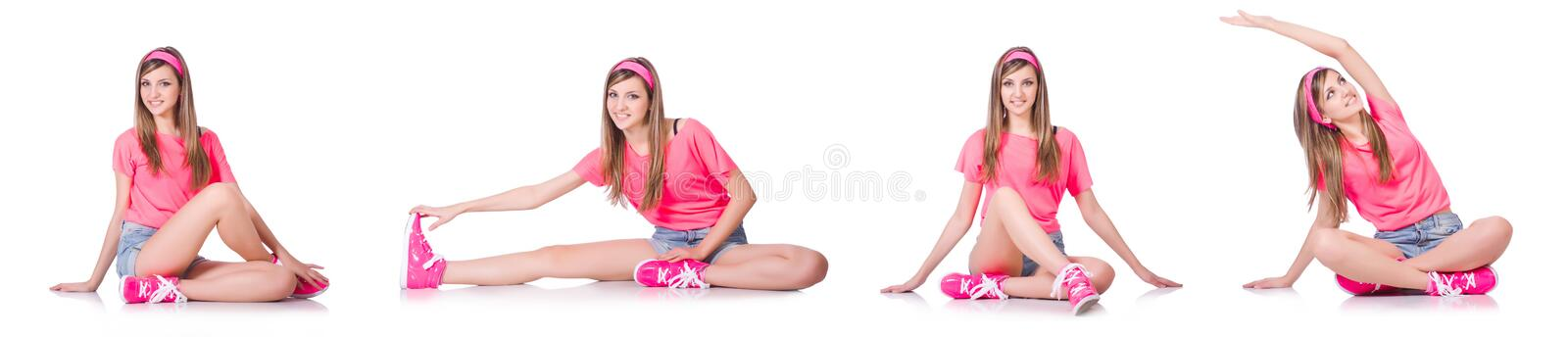 The young woman doing exercises on white royalty free stock photo