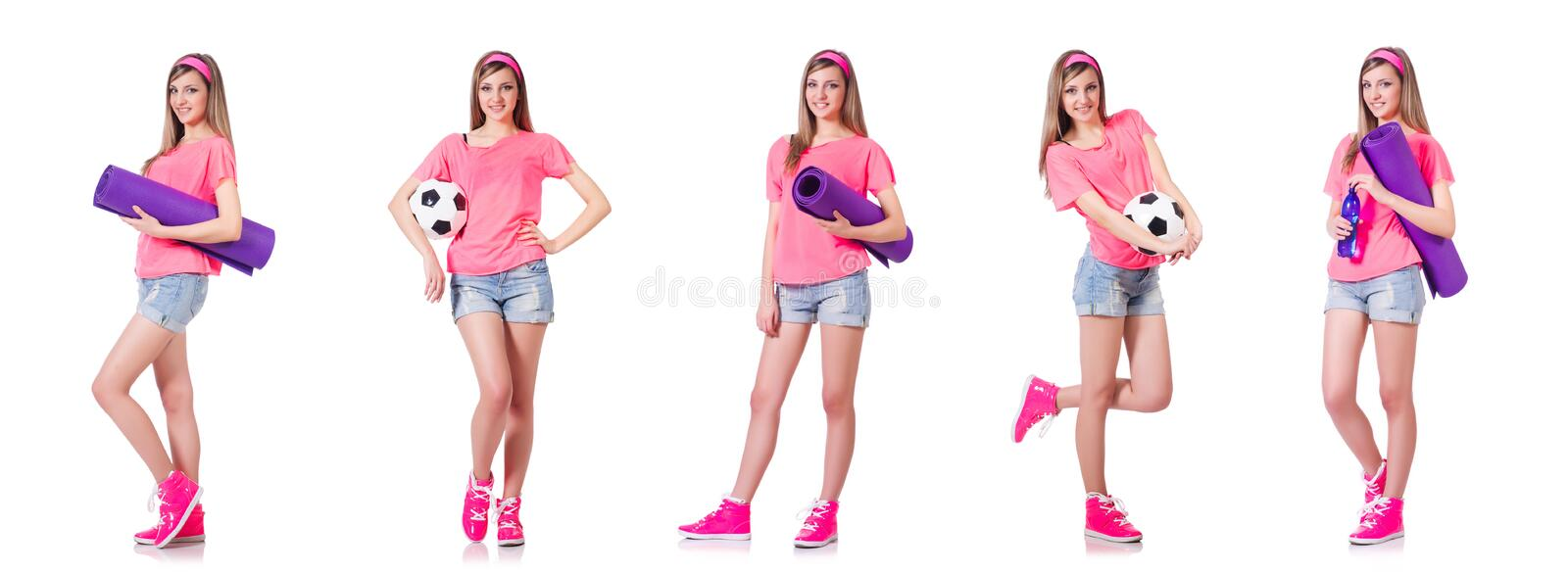 The young woman doing exercises on white stock photo