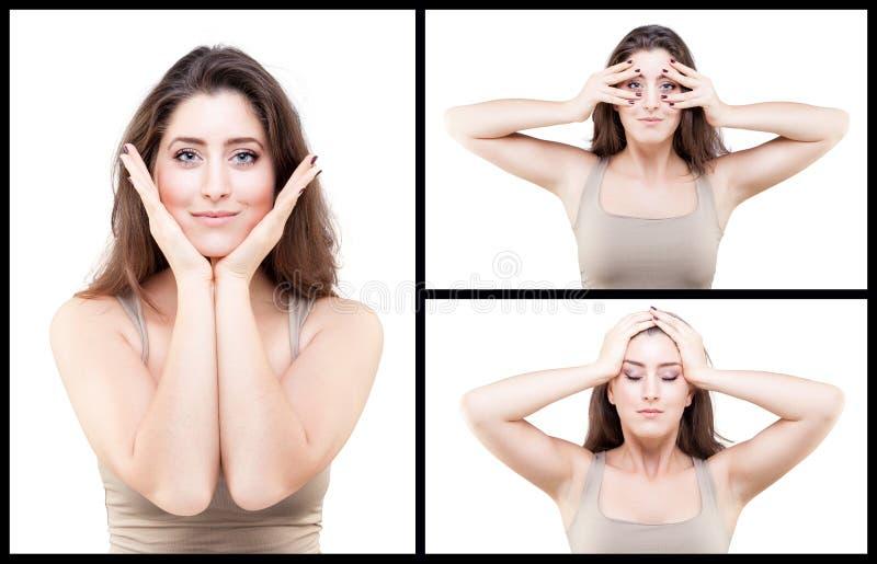 Young woman doing face yoga pose. Beautiful young caucasian woman doing face yoga pose stock images