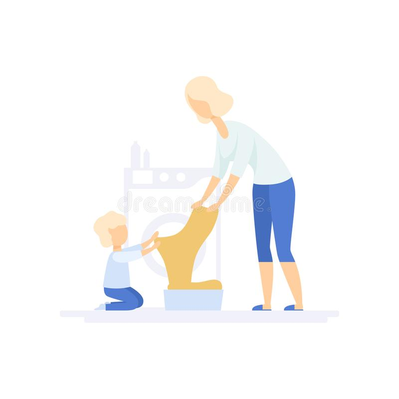 Young woman doing laundry, little son helping her, family lifestyle concept vector Illustration on a white background. Young woman doing laundry, little son stock illustration