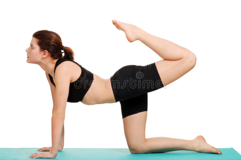 Young woman doing leg curl royalty free stock images