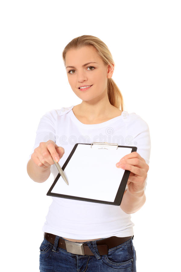 Young Woman Doing Signature Campaign Royalty Free Stock Photo