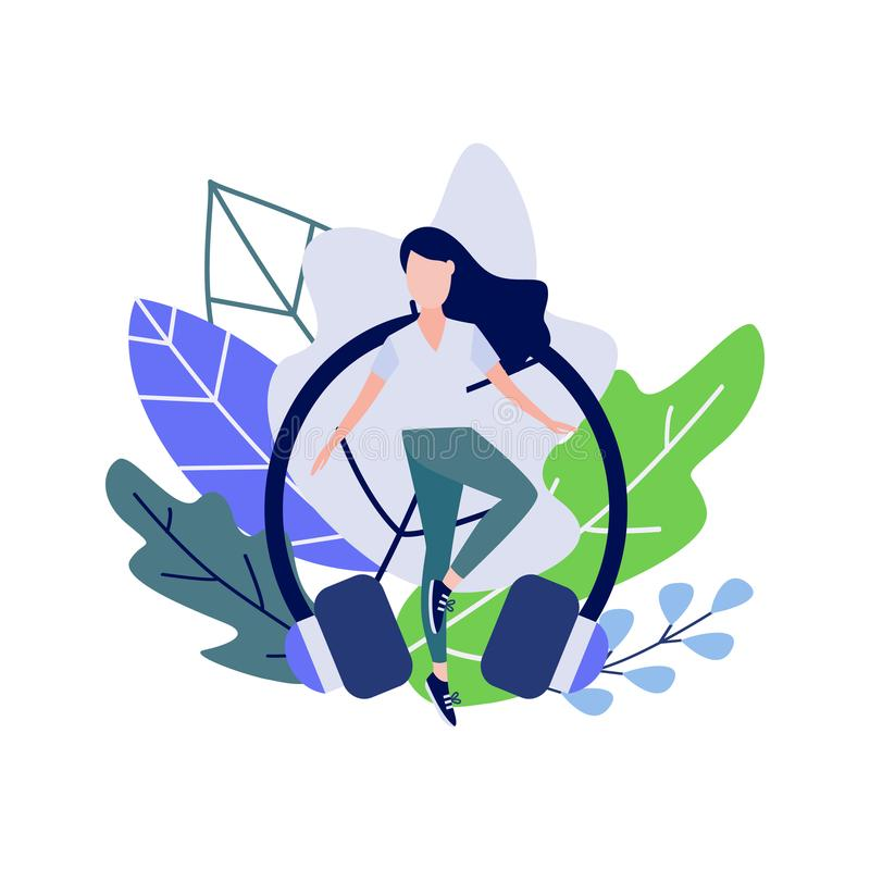 Young woman doing sport dance or fitness exercises against decorative leaves and earphones vector illustration
