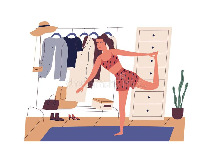 Young woman doing sports workout in morning. Cute happy girl performing gymnastic exercise at home. Start of working day. Everyday life, daily activity. Flat royalty free illustration