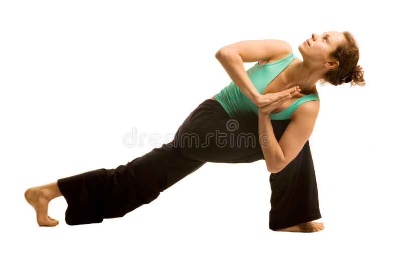 Young woman doing yoga. Pose .Isolated on white royalty free stock images