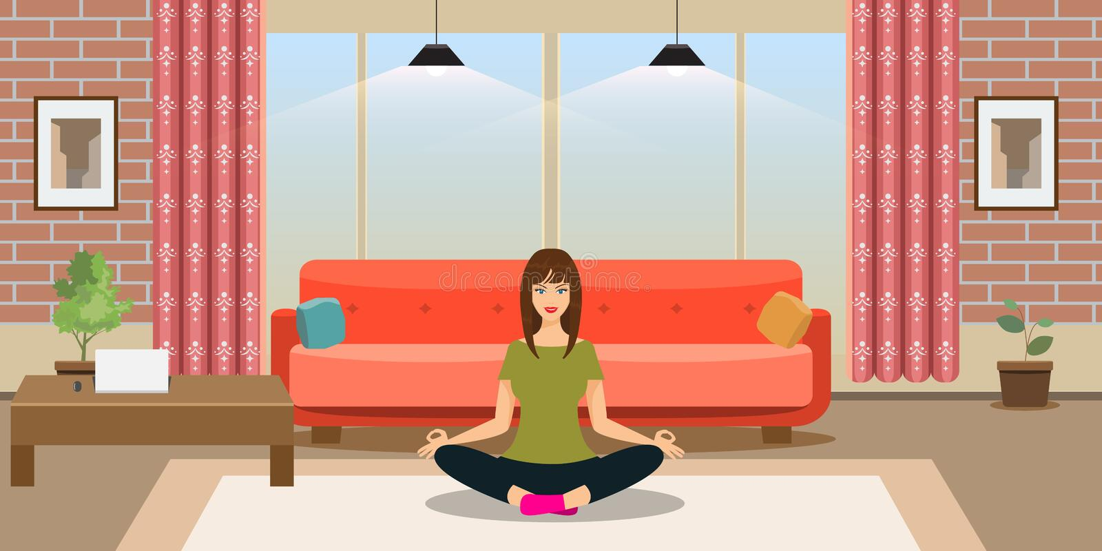 Young woman is doing yoga exercises in modern trendy design room interior. Flat style vector illustration. stock illustration