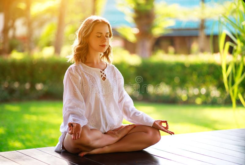 Young woman doing yoga on the nature in park stock image