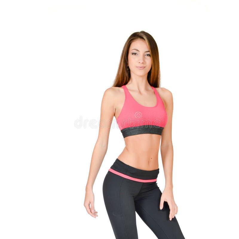 Young woman doing yoga studio shot stock photo