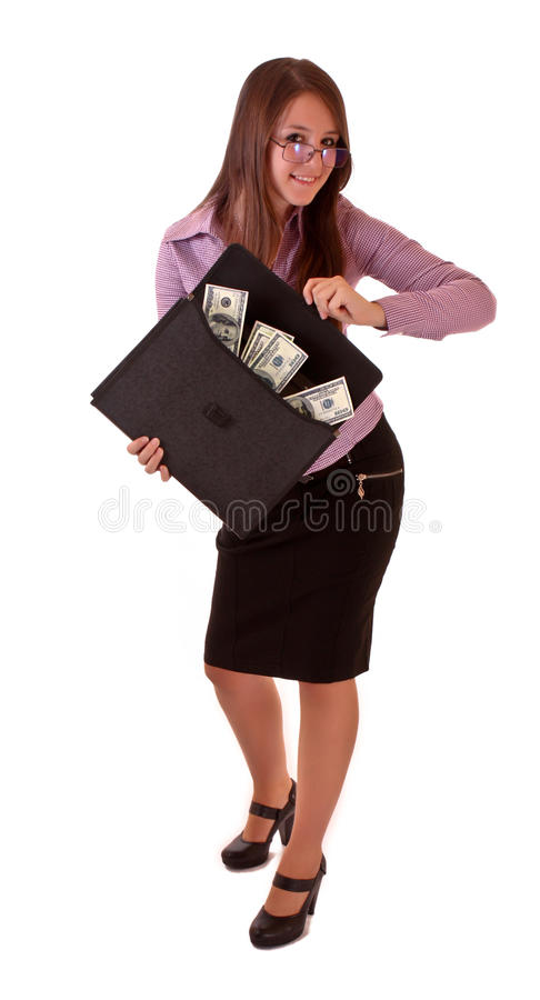Download Young Woman With Dollars In Bag Stock Image - Image: 10681517