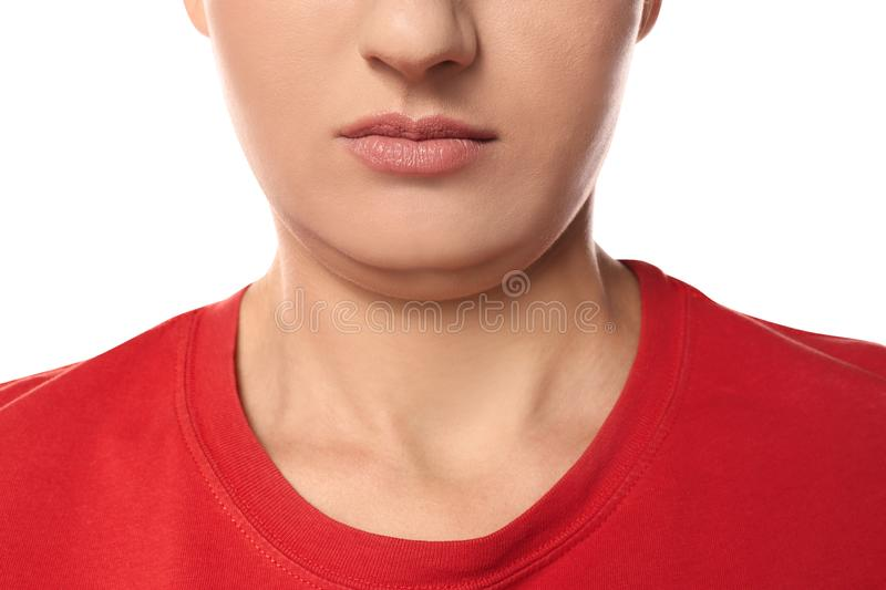 Young woman with double chin on white background stock images