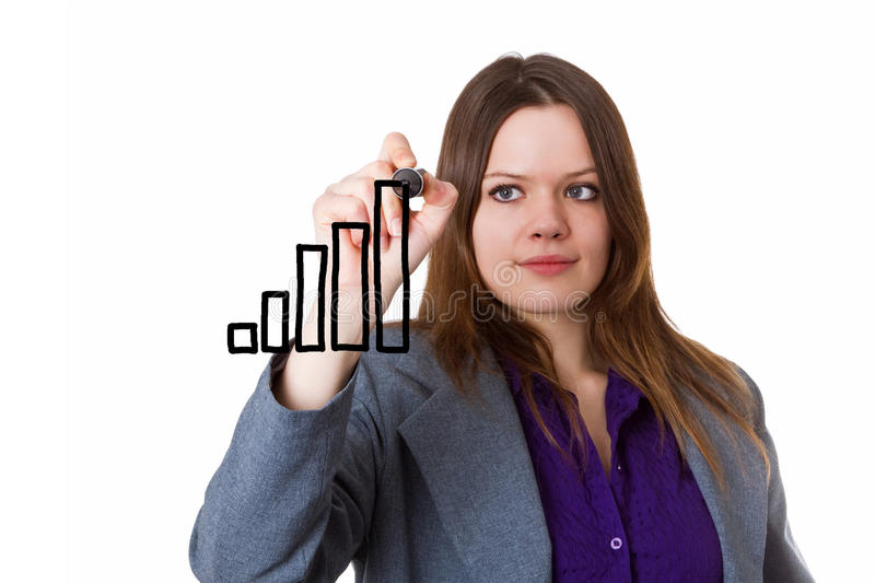 Young woman drawing a bar chart stock photo
