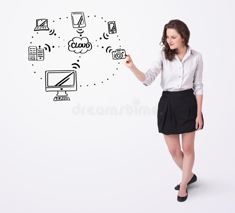 Download Young Woman Drawing A Cloud Computing On Whiteboard Stock Photo - Image of draw, notebook: 29948860