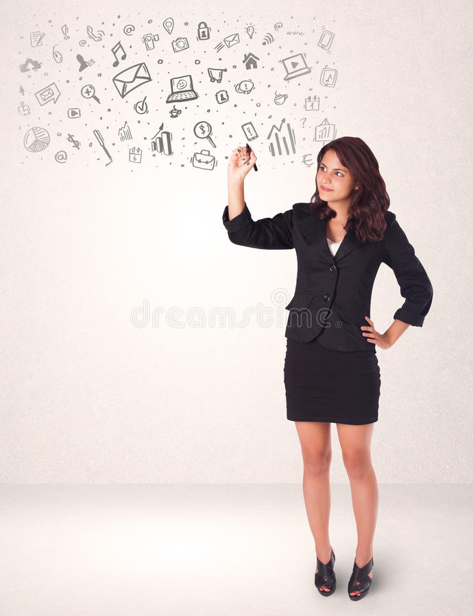 Young woman drawing and sketching icons and symbols stock illustration