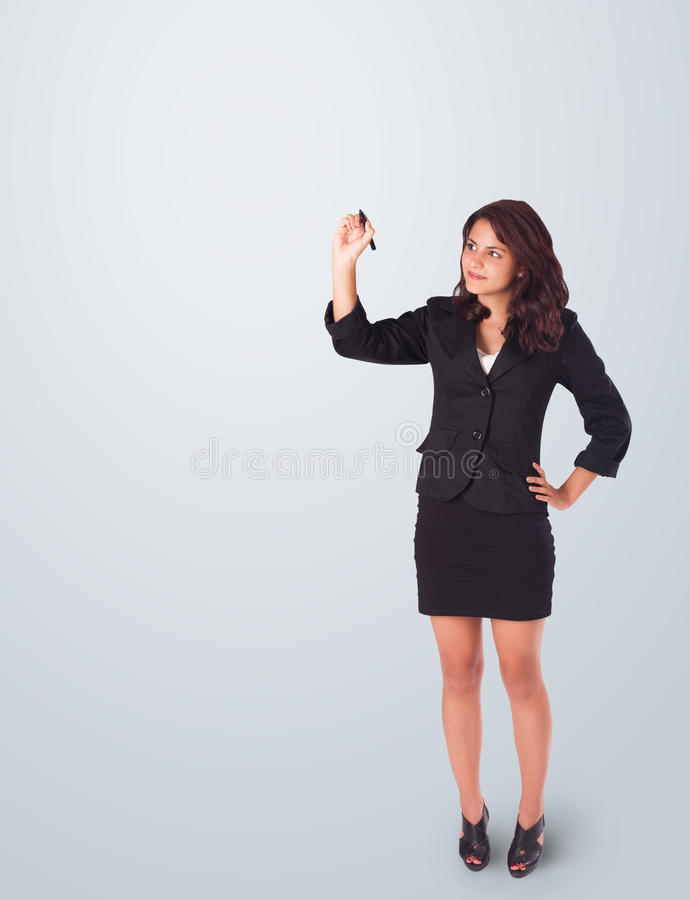 Download Young Woman Drawing On Whiteboard Stock Photo - Image: 29317018