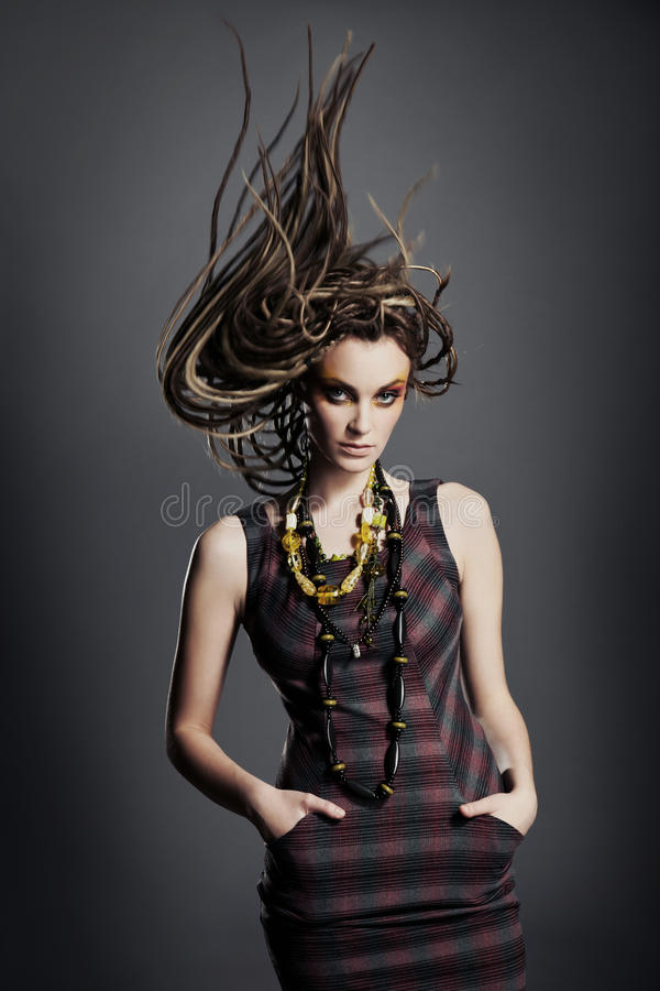 Young woman with dreadlocks. stock image