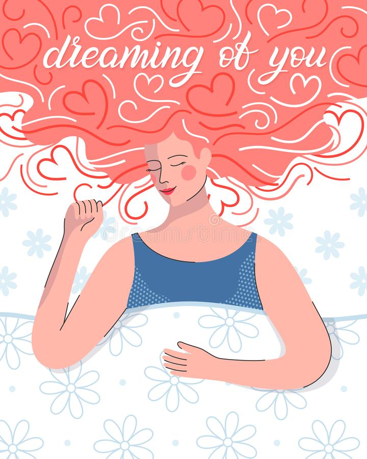 Young woman dreaming in bed. Hearts background.Cute cartoon character.Romantic illustration perfect for greeting cards prints,flyers,posters,invitations and vector illustration