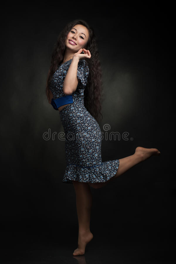 Young woman in dress stock photo