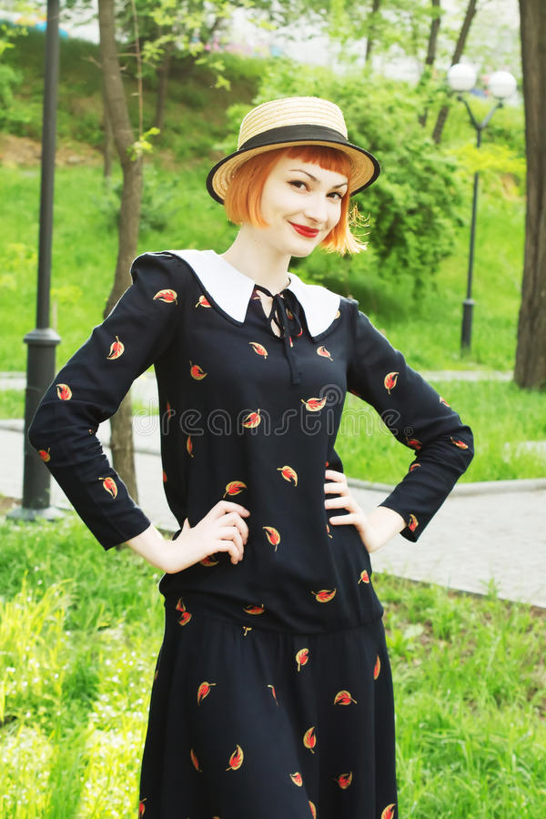 Young woman in dress retro style royalty free stock photo