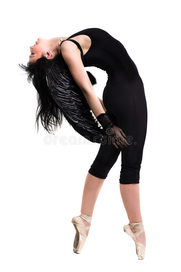 Free Young Woman Dressed As Dark Angel Dancing, Isolated In Full Body On White Stock Photos - 73655913