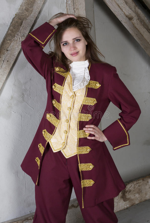 Young woman dressed as a prince royalty free stock images