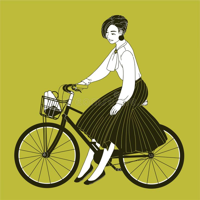 Young woman dressed in elegant clothes riding city bike drawn with contour lines on yellow background. Fashionable lady. Wearing blouse and pleated skirt stock illustration
