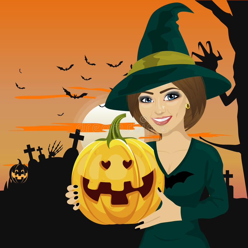 Young woman dressed like witch wearing dark clothing and holding pumpkin in hand stock illustration