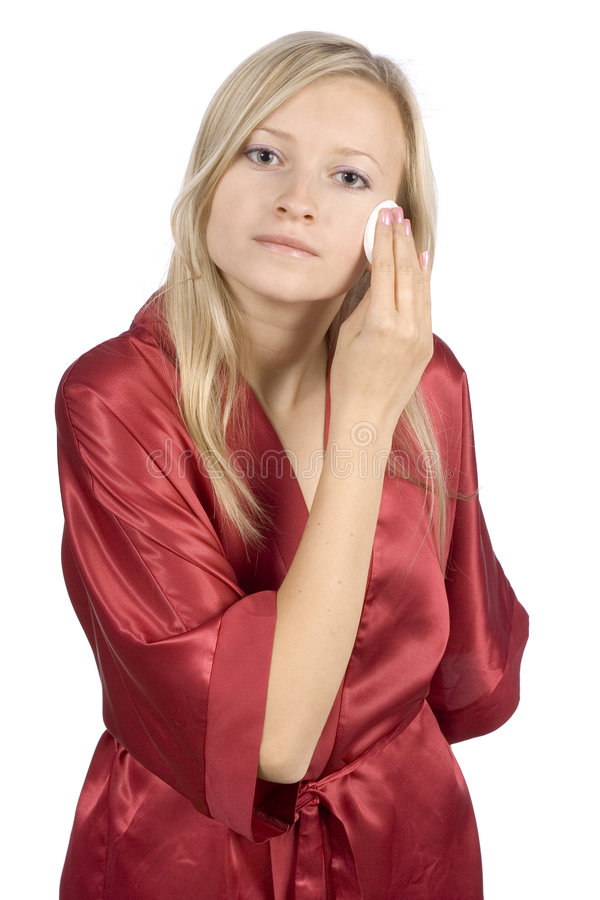 Download Young Woman Dressed Red Bathrobe Removal Make-up Stock Photo - Image: 1416646