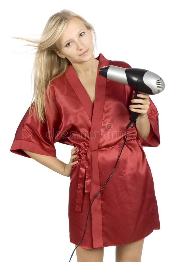 Download Young Woman Dressed Red Bathrobe Using  Hair Drier Stock Photo - Image: 1416658