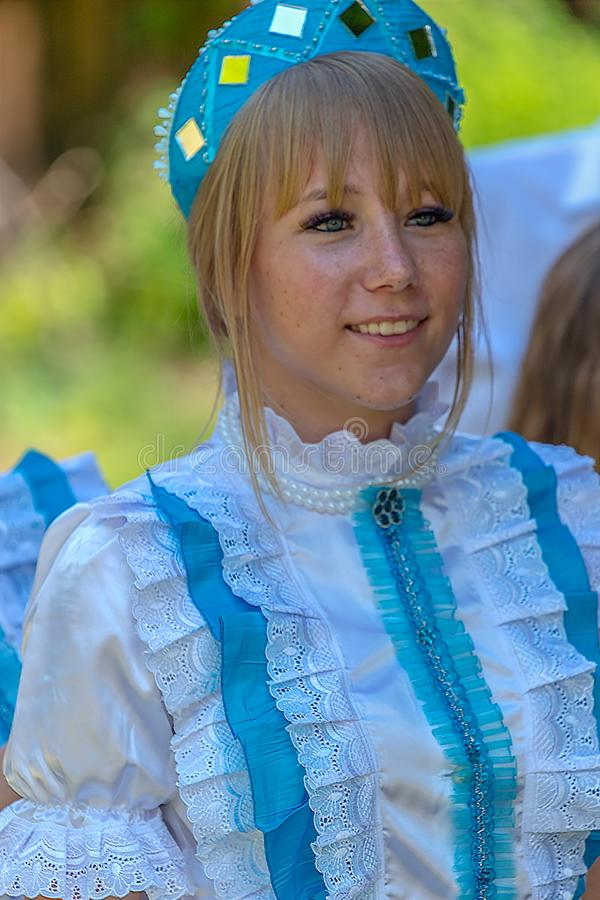 Young woman dressed in  traditional Czech costume stock photography